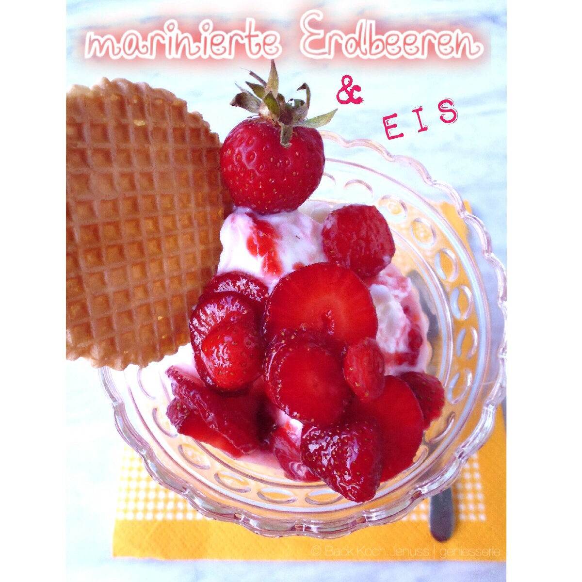 marinierte Erdbeeren Holunderblütensirup