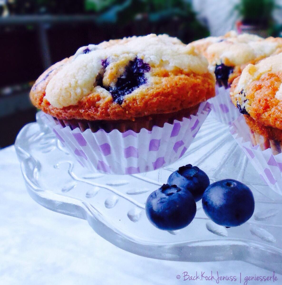 Heidelbeer-Buttermilch Muffins mit Streusel