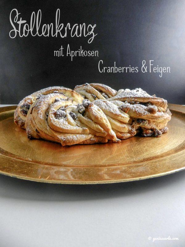 Stollenkranz mit Aprikosen, Cranberries & Feigen