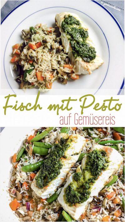 Fisch mit Pestomauf Gemüsereis